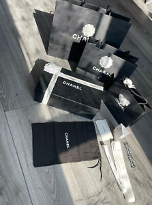 Chanel Shoe Box with Dust Bag Ribbons and Camellia Flowers