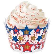 Wilton Patriotic Star Cupcake Wraps 18 pieces Memorial Day 4th of July Picnic BK
