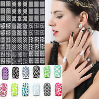 12Tips / Sheet Nail Art Manicure Stencil Stickers Stamping Nail Vinyls DIY