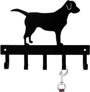 Wall-Mounted Black Metal Labrador Silhouette Key & Dog Leash Versatile Rack