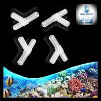 AQUATEE 10X Plastic T-Piece Shape Aquarium 3-Way Air Valve Connectors WHITE fish