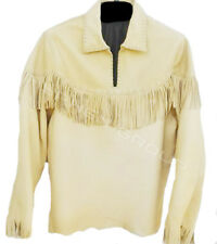 New Mens Yellow Cowboy Buffalo Buckskin American Leather Shirt With Fringes
