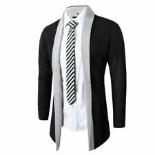 Mens Knitted Cardigan Jacket Slim Long Sleeve Casual Sweater Coat Blazer black S