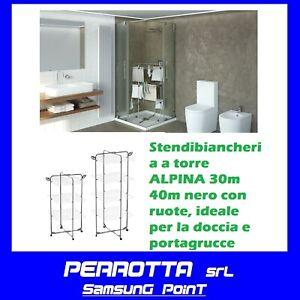 Stendibiancheria a torre Colombo new scal ALPINA 30M/40M NERO CON RUOTE RIBALTAB