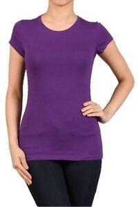 CREW/ROUND NECK Short Sleeve Women/Junior Solid Top Cotton T Shirt S-XL