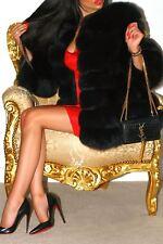 Luxueux Bleu Noir Argent Saga court en fourrure renard véritable manteau Fabuleux Design!