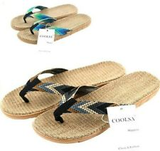 New Flip Flops Men Striped Ribbon Flat EVA Non Slip Summer Linen Straw Slippers