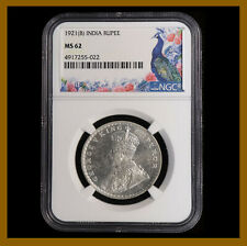 British India 1 Rupee, 1921 (B) Bombay NGC MS 62 King George V