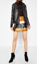 ZARA NEW AW16 Sequinned Mini Skirt Mustard Sequin Boho Size S Ref.7521/214