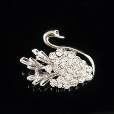 14k white Gold plated with Swarovski crystals brilliant swan brooch pin