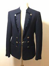 Vintage Military Womens Navy Blue Wool Blazer Jacket Steam Punk Size EU 52 M