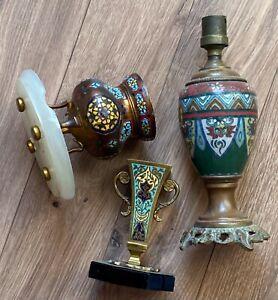 Lot pied de lampe,petit pot ,petit vase en émail cloisonné de style Barbedienne?