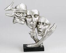 720900 Skulptur Deko Objekt Maske 37cm schwarz silber auf Sockel aus Kunststein