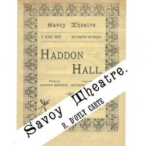 1892 Haddon Hall Savoy Theatre programme D'Oyly Carte (not Gilbert & Sullivan)