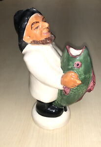 Greek Fisherman With Carp Vase Unmarked 1950's Or ?  Some Paint Chips Bit Good