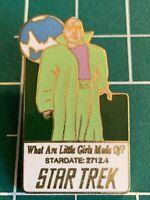 Classic Star Trek TV Series 7th Episode What Little Girls Made Of? Logo Pin 1986