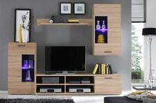 Brand new wall unit in oak sonoma colour, tv unit,2x cabinets, shelf, LED lights