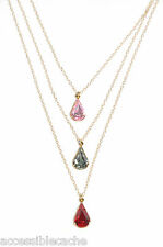 Lionette Designs Red Crystal Lumiere Triple Strand Teardrop Necklace, Gold Fill