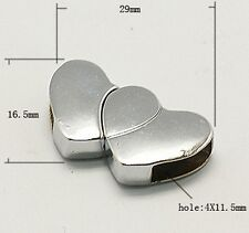HEART ALLOY MAGNETIC CLAPS PLATINUM PLATED CORD ENDS TIPS NECKLACE CAPS