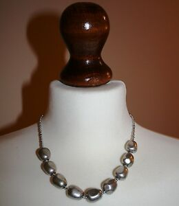 Hammered  Tablet and Fine Bead Necklace