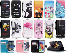 Magnetic Fashion Patterned Flip PU Leather Wallet Case Cover & Strap For Phone