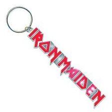 Iron Maiden nom bande métallique trousseau icône rouge et argent cadeau officiel