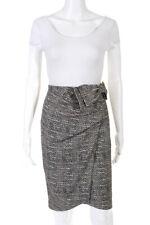 Badgley Mischka Womens Bow Detail Abstract Print Pencil Skirt Black Size 6