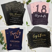 Personalised Birthday Invitations 30th, 40th, 50th 21st 18th Party Invites