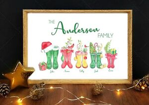 A4 Personalised Family Print Stocking Filler Christmas  Christmas Decoration