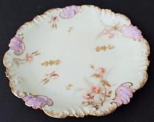 "Antique 1896 LAVIOLETTE LIMOGES France Hand Painted Pink FLOWERS 7"" Plate"