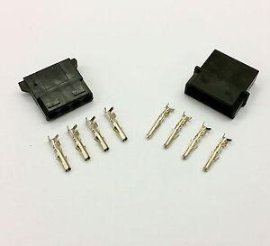 MALE & FEMALE 4 PIN MOLEX PC PSU POWER CONNECTORS - 1 OF EACH- BLACK INC PINS