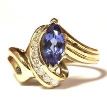 14k yellow gold .27ct VS1 G womens diamond tanzanite ring 4.2g estate vintage