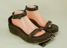 RARE Reef Size 10 Thong Ankle Strap Wedge Gladiator Sandals Brown / Bronze NEW