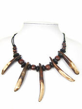 Tribal Style Wild Boar Teeth Tooth Tusk Charm Amulet Pendant Necklace Adjustable