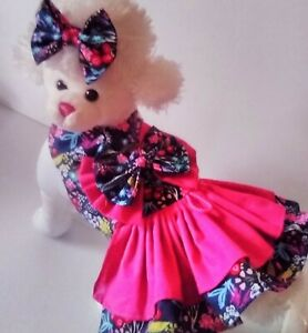 DOG DRESS HARNESS NAVY CALICO  NEW FREE SHIPPING