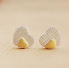 Ear Studs Earrings Heart Heart Love White Gold Platinum