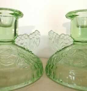 Pair Of Vintage Green Pressed Glass Winged Floral Design Candlestick Holders