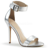 Pleaser AMUSE-10 Womens Silver Metallic Pu High Heel Open Toe Ankle Strap Sandal