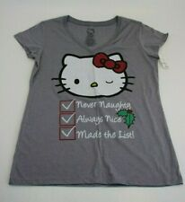 Hello Kitty Sanrio Gray Naughty or Nice Short Sleeve V-Neck T-Shirt Sz XL