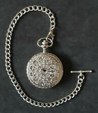 POCKET WATCH  SILVER COLOURED HUNTER AND ALBERT WATCH CHAIN