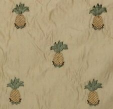 """SILK EMBROIDERED PINEAPPLE LIGHT BEIGE D4100 SILK FABRIC W/ BACKING BY YARD 54""""W"""