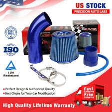 Car Air Intake Pipe Aluminum Alloy Diameter Cold Air Intake Filter+Clamp Blue US(Fits: More than one vehicle)