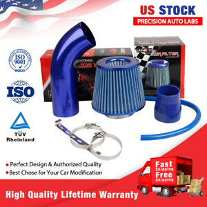 Car Air Intake Pipe Aluminum Alloy Diameter Cold Air Intake Filter+Clamp Blue US