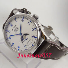 43mm Parnis white dial moon phase date window Automatic movement men's watch 194