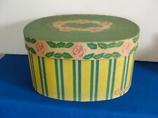 New listing Vintage Yellow Green Striped w/Roses Oval Hat Box by Cannon