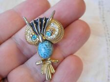 Gorgeous Vintage 1960s OWL Brooch signed DICK Co   with JELLY Belly