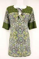 KIM ROGERS Blouse Women's L Multi Color Floral Print Short Sleeve Top