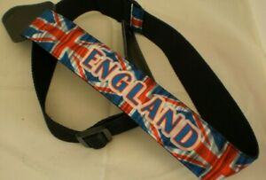 Guitar strap, England with flag on strong black nylon