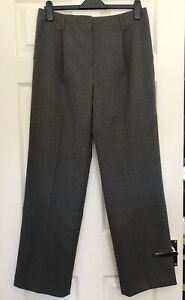 Jigsaw Grey Wool Stretch Flannel Wide Leg Smart Trouser Sz 12 Pristine