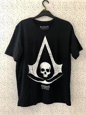 Mens Assasins Creed Black Flag Skull Map Black Short Sleeved T-Shirt Size L